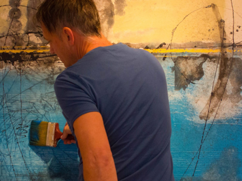 André Desjardins-Techniques mixtes sur toile-Peinture